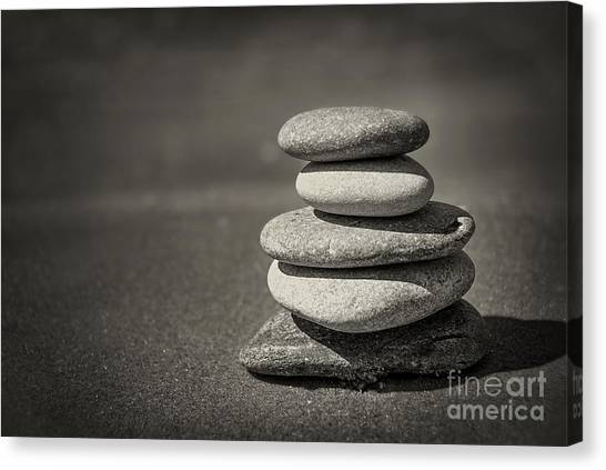 Rock Canvas Print - Stacked Pebbles On Beach by Elena Elisseeva