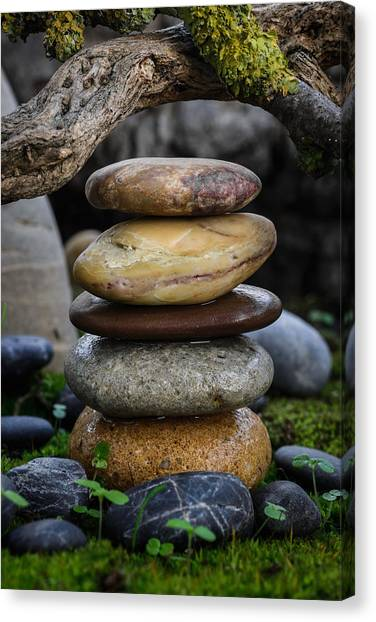 Mystic Setting Canvas Print - Stacked Stones A5 by Marco Oliveira