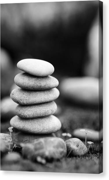 Mystic Setting Canvas Print - Stacked Stones Bw Iv by Marco Oliveira