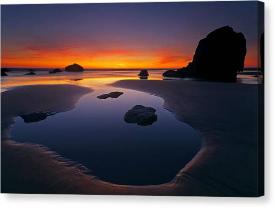 Low Tide Canvas Print - Stacks And Stones by Mike  Dawson