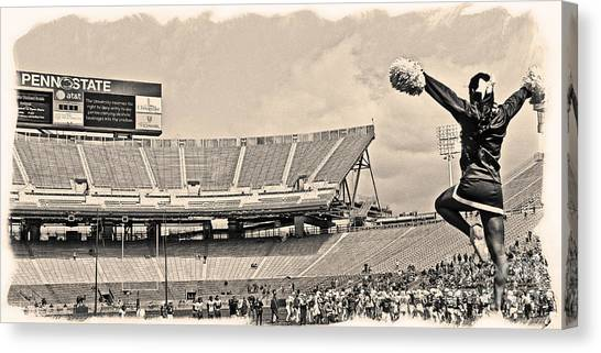 Cheerleading Canvas Print - Stadium Cheer Black And White by Tom Gari Gallery-Three-Photography