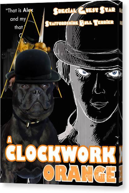 Clockwork Orange Canvas Print - Staffordshire Bull Terrier Art Canvas Print - A Clockwork Orange Movie Poster by Sandra Sij