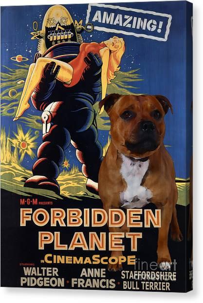 Forbidden Planet Canvas Print - Staffordshire Bull Terrier Art Canvas Print - Forbidden Planet Movie Poster by Sandra Sij