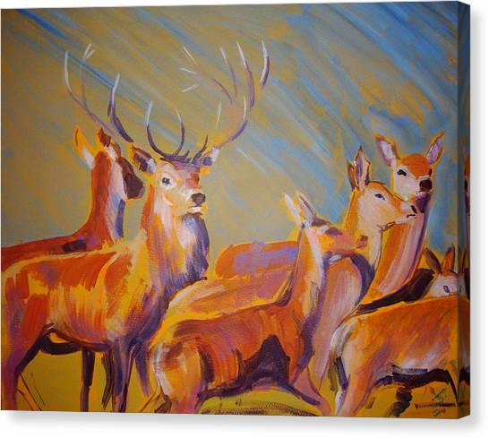 Stag And Deer Painting Canvas Print