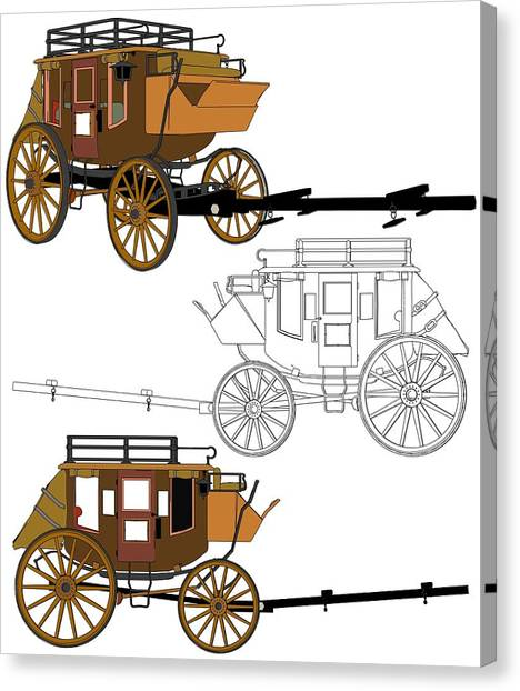 Pioneers Canvas Print - Stagecoach Without Horses - Color Sketch Drawing by Nenad Cerovic