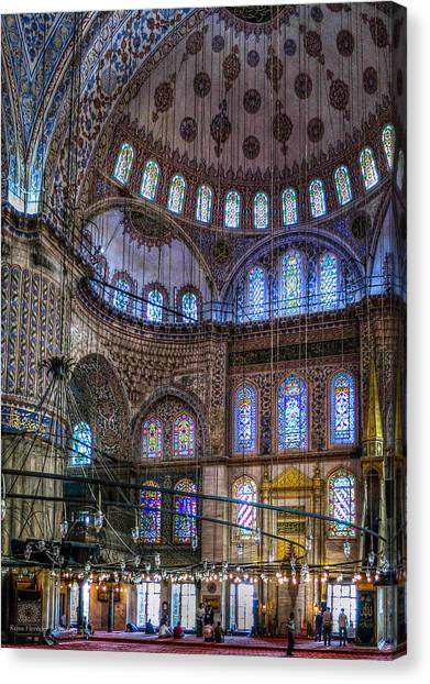 Stained Glass And Dome Of The Sultanahmet Mosque Canvas Print