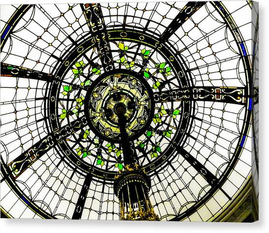 The Metropolitan Museum Of Art Canvas Print - Stained Glass Dome by Jon Woodhams