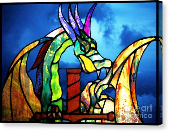 Stained Glass Dragon Canvas Print
