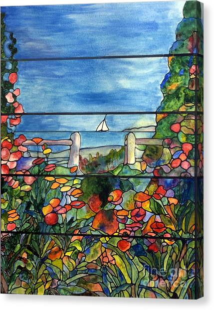 Stained Glass Tiffany Landscape Window With Sailboat Canvas Print