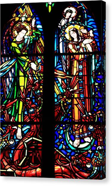 Stained Glass Window At Mont  Le Saint-michel Canvas Print