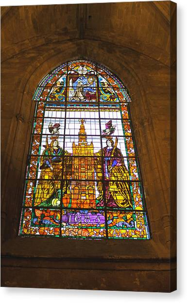 Stained Glass Window In Seville Cathedral Canvas Print