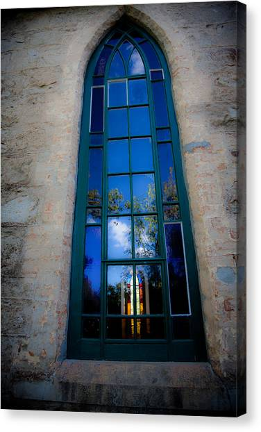 Stained Glass Window In Window Canvas Print