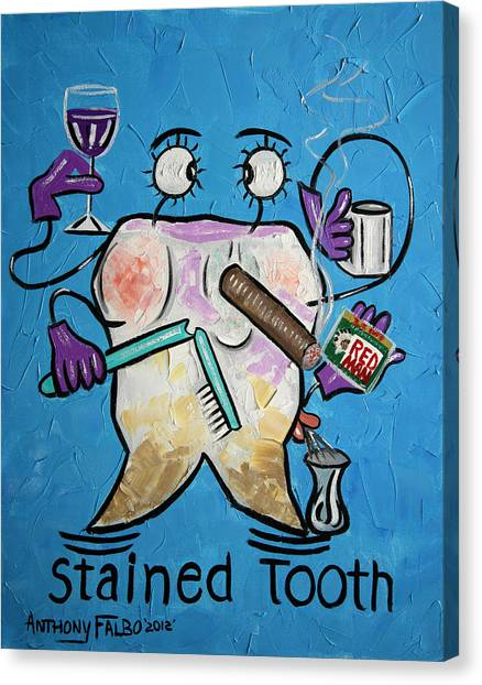 Dentists Canvas Print - Stained Tooth by Anthony Falbo