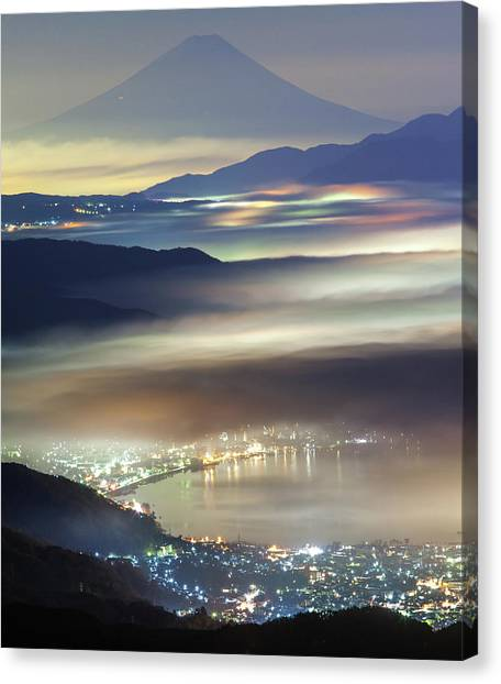 Mount Fuji Canvas Print - Staining Sea Of Clouds by Hisashi Kitahara