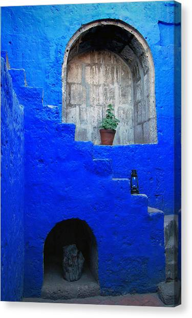 Staircase In Blue Courtyard Canvas Print