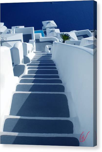 Stairs Down To Ocean Santorini Canvas Print