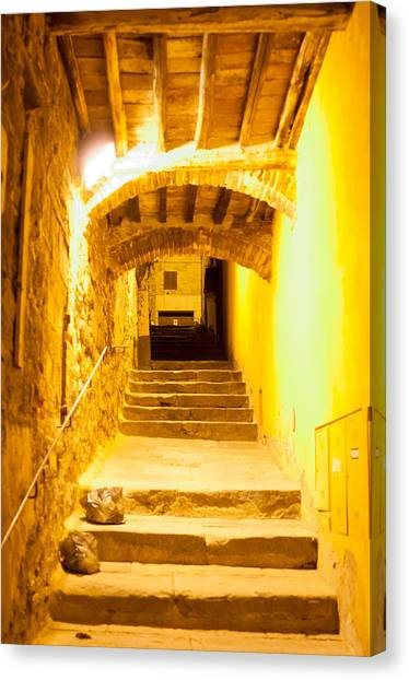 Stairs In Montepulciano At Night Canvas Print by Jakob Montrasio