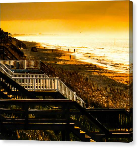 People Walking On Beach Canvas Print - Stairs To Heaven On Earth by Karen Wiles