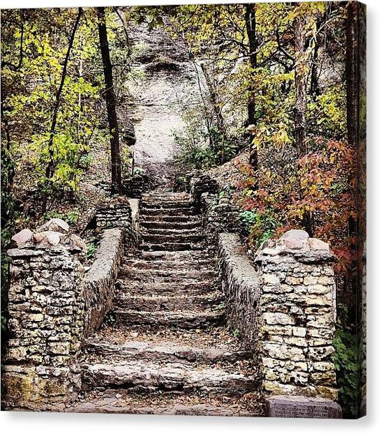 Spelunking Canvas Print - Stairs To The Ice Cave In Decorah by Zach Steele