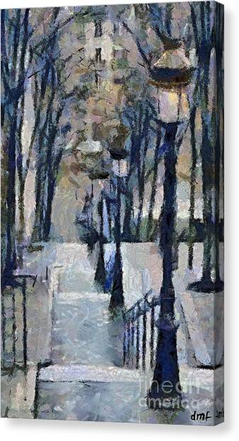 Stairs With Lamps Canvas Print