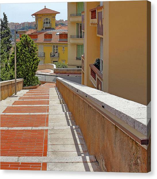 Stairway In Monaco French Riviera Canvas Print