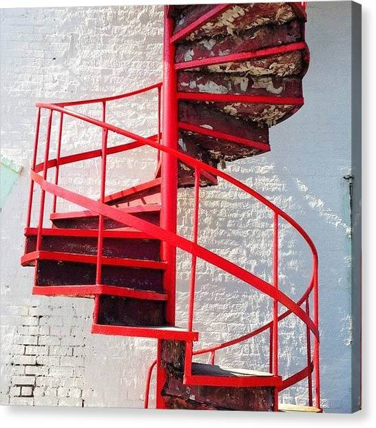 Spiral Canvas Print - #stairway To A #betterplace #red by Tonya T