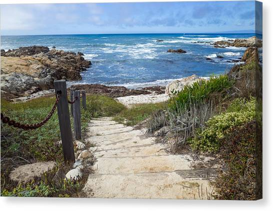 Canvas Print featuring the photograph Stairway To Asilomar State Beach by Priya Ghose