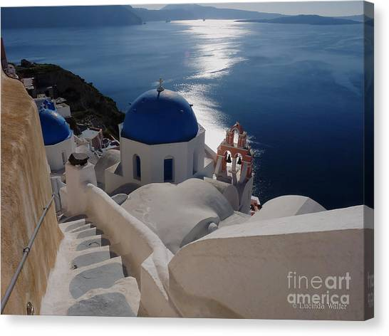 Stairway To The Blue Domed Church Canvas Print