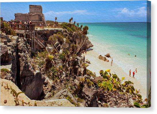 Stairway To The Tulum Beach  Canvas Print