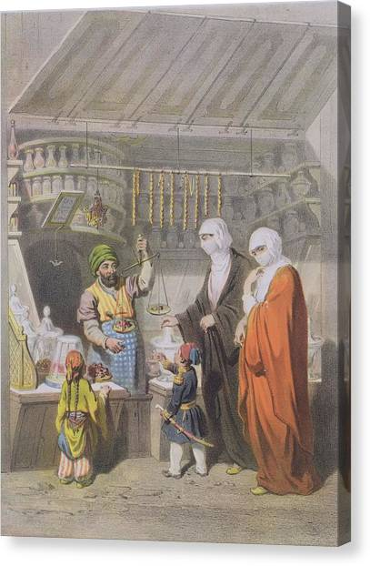 Muslim Canvas Print - Stallholder Selling Spiced Delicacies by Adolphe Jean-Baptiste Bayot