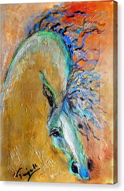 Stallion In Gold Canvas Print