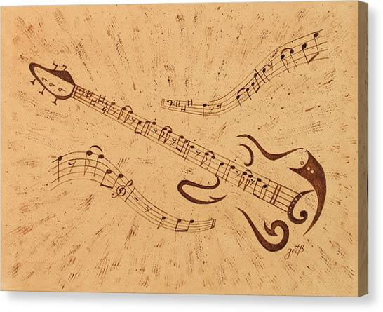 Stand By Me Guitar Notes Original Coffee Painting Canvas Print