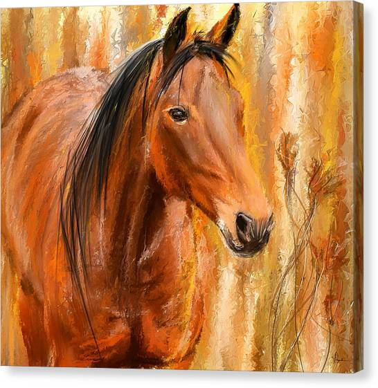 Bay Horse Canvas Print - Standing Regally- Bay Horse Paintings by Lourry Legarde