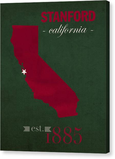 Pac 12 Canvas Print - Stanford University Cardinal Stanford California College Town State Map Poster Series No 100 by Design Turnpike