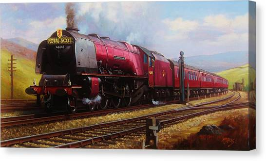 Steam Trains Canvas Print - Stanier Pacific On Shap. by Mike Jeffries
