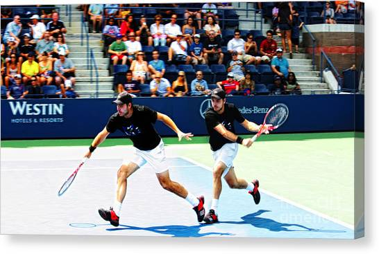 Roger Federer Canvas Print - Stanislas Wawrinka In Action by Nishanth Gopinathan