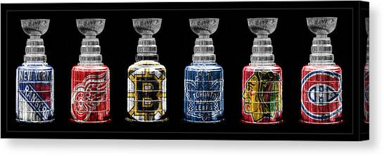 Boston Bruins Canvas Print - Stanley Cup Original Six by Andrew Fare
