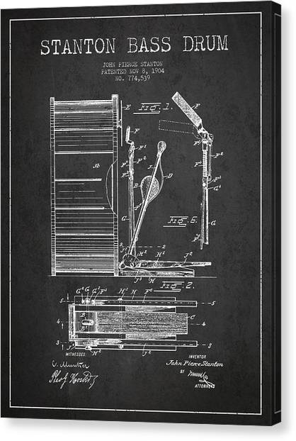 Percussion Instruments Canvas Print - Stanton Bass Drum Patent Drawing From 1904 - Dark by Aged Pixel