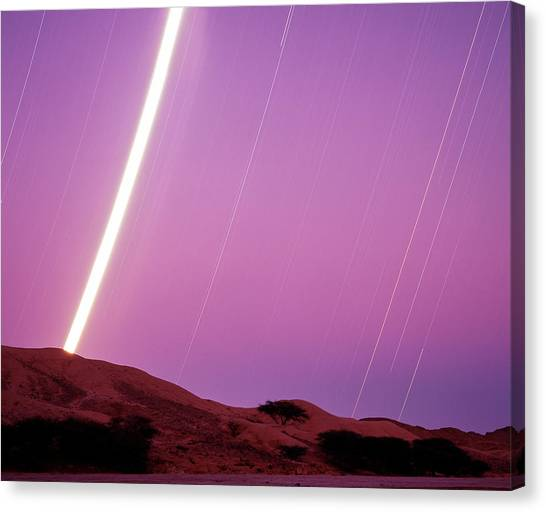 Sahara Desert Canvas Print - Star And Moon Trails by David Parker/science Photo Library