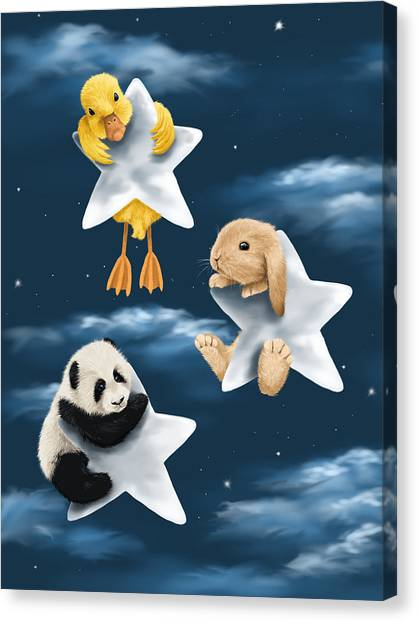 Panda Canvas Print - Star Games by Veronica Minozzi