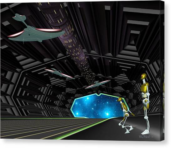 Star Ship Chamber Landing Canvas Print by Walter Oliver Neal