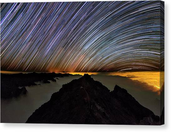 La Galaxy Canvas Print - Star Trails Over Caldera De Taburiente by Babak Tafreshi