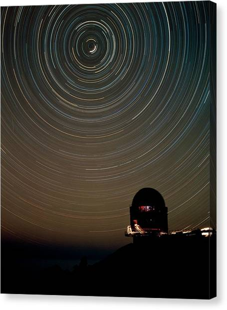Star Trails Over Dome Of Nordic Optical Telescope Canvas Print by David Parker/science Photo Library