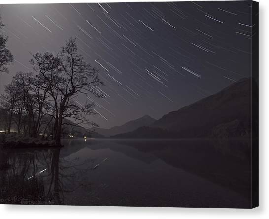 Star Trails Over Lake Canvas Print