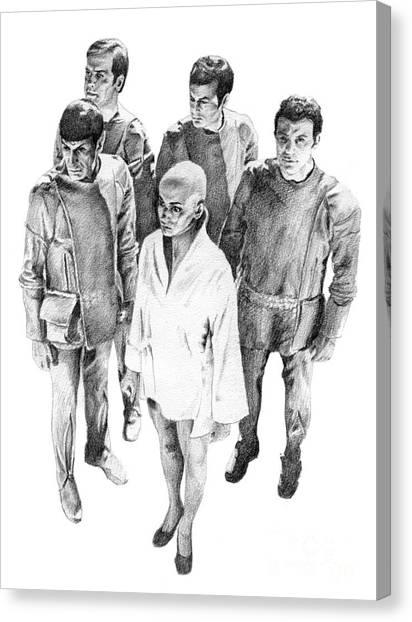 Starship Enterprise Canvas Print - Star Trek - Meeting With V'ger by Liz Molnar
