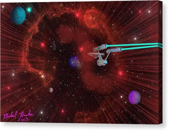 James T. Kirk Canvas Print - Star Trek - Punch It  by Michael Rucker