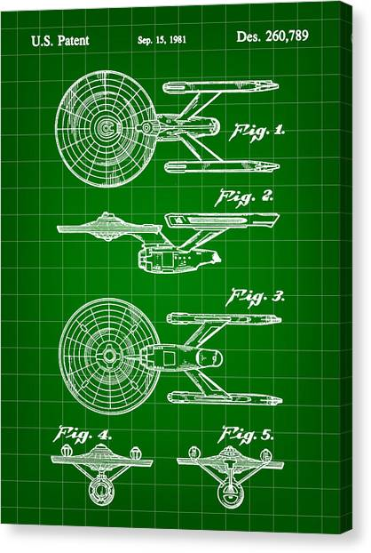 Uhura Canvas Print - Star Trek Uss Enterprise Toy Patent 1981 - Green by Stephen Younts