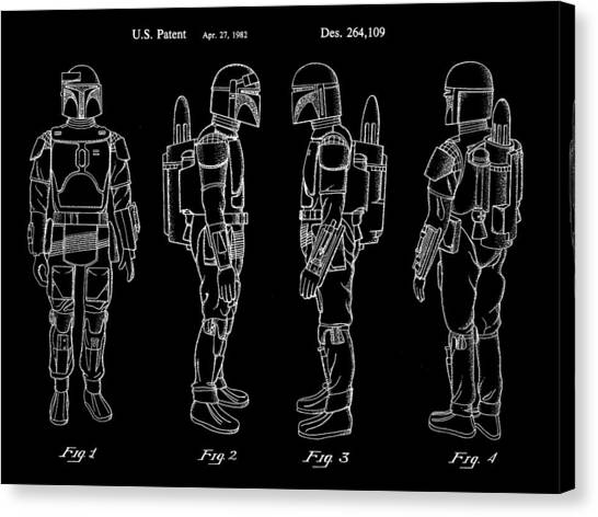 R2-d2 Canvas Print - Star Wars Boba Fett Patent 1982 - Black by Stephen Younts