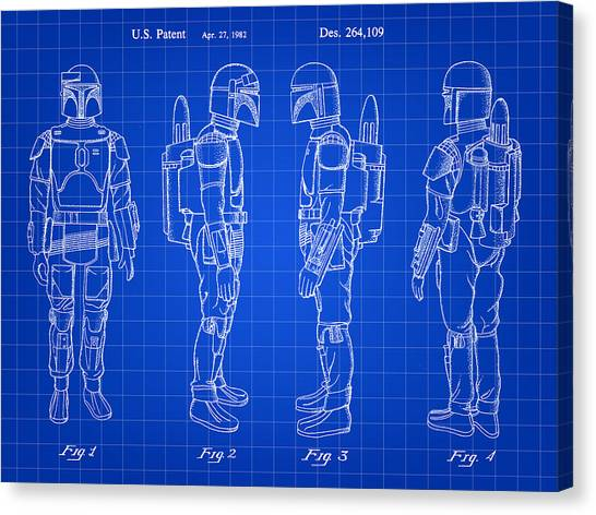 R2-d2 Canvas Print - Star Wars Boba Fett Patent 1982 - Blue by Stephen Younts