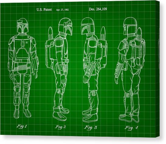 R2-d2 Canvas Print - Star Wars Boba Fett Patent 1982 - Green by Stephen Younts